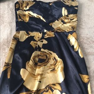 Strapless black and gold rose silk dress